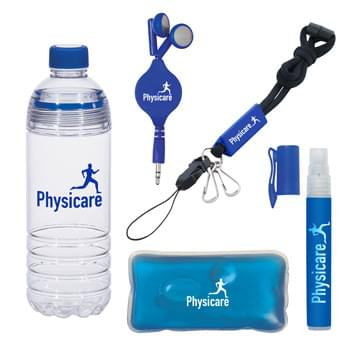 The Gym Kit - Kit Includes: #5819: 28 Oz. Easy-Clean Water Bottle, #9059: .34 Oz. Hand Sanitizer Spray Pump, #2705: Retractable Earbuds, #9460: Reusable Hot And Cold Pack and #2026: Utility Lanyard With Attachments | Pricing Includes a 1 Color Imprint in 1 Location on Each Item (4 Color Process Label on Item #9059)