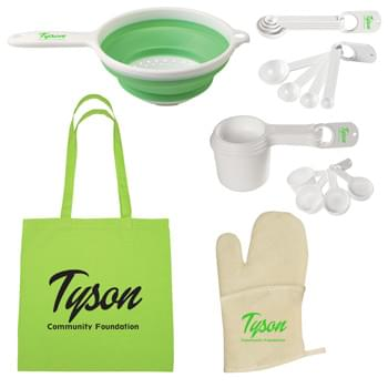 Chef's Essentials Kit - Kit Includes: #3200: 100% Cotton Tote Bag, Quilted Cotton Canvas Oven Mitt, Collapsible Strainer, Set Of Four Measuring Cups and Set Of Four Measuring Spoons | Pricing Includes a 1 Color Imprint in 1 Location on Each Item
