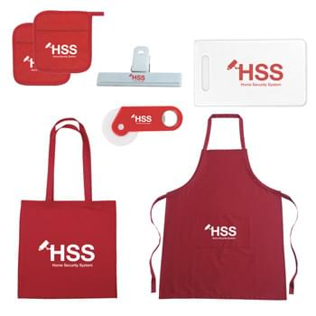 "Housewarming Kit - Kit Includes: #3200: 100% Cotton Tote Bag, #9001: Quilted Cotton Canvas Pot Holder (x2), #9006: 100% Cotton Apron, #97: 6"" Bag Clip, #2130: Cutting Board In Protective Sleeve and #2119: Pizza Cutter With Bottle Opener 
