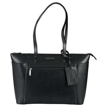 "Kenneth Cole 15"" Computer Saffiano Tote - The Kenneth Cole 15"" Computer Saffiano Tote is the perfect bag for the fashion forward professional. Zippered main compartment with a dedicated and padded 15"" laptop sleeve as well as padded tablet sleeve. Large main compartment which offers a deluxe organizational panel with multiple pockets for your phone, pens, cards and more. Zippered front pocket with additional side pockets for extra storage. 13"" drop height handles for comfort and support. Signature Kenneth Cole hardware throughout."