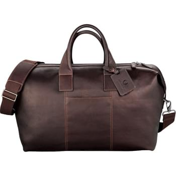 Kenneth Cole® Colombian Leather Weekender Duffel - Large main compartment includes multiple zippered interior organizer pockets. Quick access front and back pockets. Padded removable shoulder strap. Includes genuine full grain leather identification tag. Includes signature Kenneth Cole® hardware and lining.