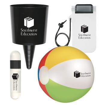 "Beach-Nik™ Beach Buddy Kit - Pricing Includes a 1 Color Imprint in 1 Location on Each Item (4-Color Process Label on #9068) | Kit Includes: #49: Beach-Nik™, #303: Waterproof Phone Pouch With Cord, #9068 Lip Balm And Sunstick and #751: 12"" Beach Ball"