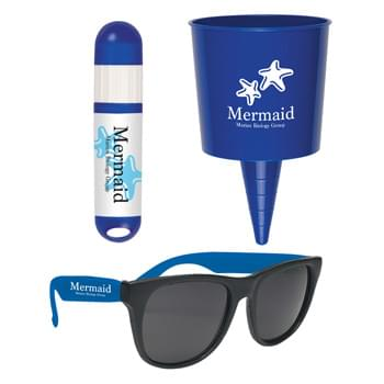 Beach-Nik™ Fun Kit - Pricing Includes a 1 Color Imprint in 1 Location on Each Item (4-Color Process Label on #9068) | Kit Includes: #49: Beach-Nik™, #4000: Rubberized Sunglasses and #9068: Lip Balm And Sunstick