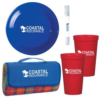 "Picnic In The Park Kit - Kit Includes #7026 Roll-Up Picnic Blanket, 2 Pieces of #5901 - 22 Oz. Big Game Stadium Cup, #707 Large Discus and #9088 - 2-In-1 SPF 30 Sunscreen And Hand Sanitizer Spray | Pricing Includes 1 Color Imprint In 1 Location Each Item (4 Color Process Label on Item 9088.  Item 5901 Both Cups Must Have Same Art) | Picnic Blanket is 52"" x 47"", Made of Polyester Fleece Plaid With Lining And Water-Resistant PE Backing"