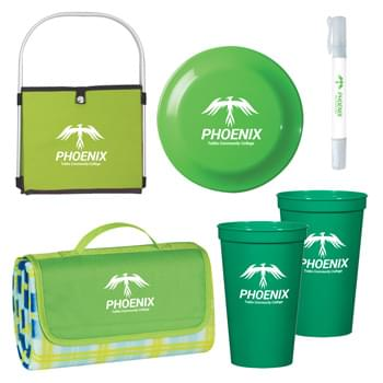 "Deluxe Picnic In The Park Kit - Pricing Includes 1 Color Imprint In 1 Location Each Item (4 Color Process Label on Item 9088.  Item 5901 Both Cups Must Have Same Art) | Kit Includes #3582 Collapsible Picnic Basket, #7026 Roll-Up Picnic Blanket, 2 Pieces of #5901 - 22 Oz. Big Game Stadium Cup, #707 Large Discus and #9088 - 2-In-1 SPF 30 Sunscreen And Hand Sanitizer Spray | Picnic Blanket is 52"" x 47"", Made of Polyester Fleece Plaid With Lining And Water-Resistant PE Backing"