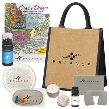 Rest And Relaxation Kit - A wonderfully unexpected gift for your customers. This jute bag kit includes a vanilla candle to calm the senses, a therapeutic gel pack, an eye mask to soothe tired eyes, a comforting neck pillow, a bottle of peppermint essential oil, an adult coloring book, and a set of colored pencils. An imprint of your logo will be featured on each item. Bring tranquility to your customers with this luxury at-home spa kit. Ahh, breathe easy.  | Kit Includes: #RTC02 - 2 oz. Candle In Round Tin, #9467 Small Round Gel Bea