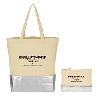 Metallic Travel Bag Kit - Kit Includes 12 Oz. Cotton Tote Bag With Metallic Accent and 12 Oz. Cotton Cosmetic Bag With Metallic Accent | Pricing Includes a 1-Color Imprint in 1-Location on Each Item