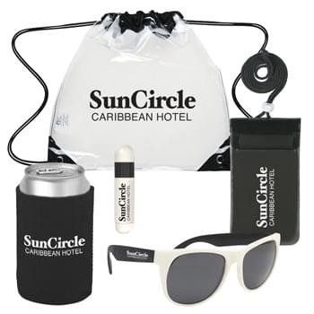 Deluxe Fun In The Sun Kit - Kit Includes #3606 Clear Drawstring Backpack, #507 Waterproof Pouch With Neck Cord, #34 Kan-Tastic,  #9068 Lip Balm And Sunstick and #4000 Rubberized Sunglasses | Pricing Includes a 1 Color Imprint in 1 Location on Each Item (4-Color Process Label on Item #9068)