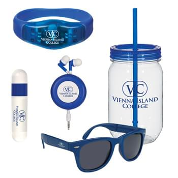 Active Lifestyle Kit - Kit Includes: #5843 Mason Jar, #80 Safety Light Wristband, #2785 Retro Retractable Earbuds, #6227 Folding Malibu Sunglasses and  #9068 Lip Balm And Sunstick | Pricing Includes a 1 Color Imprint in 1 Location on Each Item (4-Color Process Label on #9068)