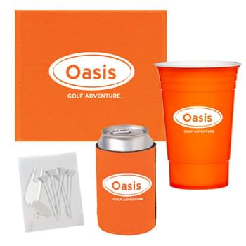 Towel Cup Golf Kit - Pricing Includes A 1 Color Imprint In 1 Location On Each Item | Kit Contains: #5950 The Cup™, #34 Kan-Tastic, #6080 Rally Towel And A Blank Poly Bag With 5 Tees, A Divot Tool And A Ball Marker