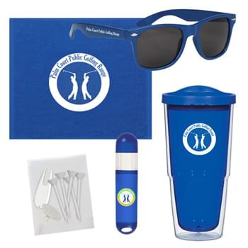 Towel Tumbler Golf Kit - Pricing Includes A 1 Color Imprint In 1 Location On Each Item (4-Color Process On Sunstick) | Kit Contains: #5853 - 24 Oz. Biggie Tumbler With Lid, #6223 Malibu Sunglasses, #6080 Rally Towel, #9068 Lip Balm And Sunstick, And A Blank Poly Bag With 5 Tees, A Divot Tool And A Ball Marker