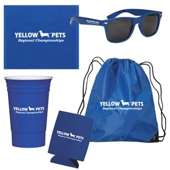 Tailgate Kit - Kit Contains #3071 Small Hit Sports Pack, #6223 Malibu Sunglasses, #6080 Rally Towel, #5950 The Cup™ and #34 Kan-Tastic | Pricing Includes a 1 Color Imprint in 1 Location on Each Item