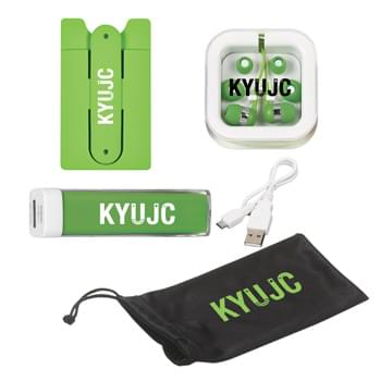 Tech Accessory Kit - Kit Includes: #6243: Microfiber Pouch With Drawstring, #2708: Earbuds With Microphone, #257: Silicone Phone Wallet With Stand and #2650UL: UL Listed Charge-It-Up Power Bank (UL File #MH60879, Model #2650) | Pricing Includes a 1 Color Imprint in 1 Location on Each Item