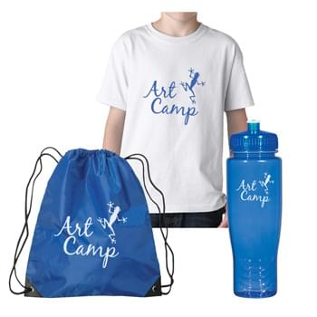 Gildan® Apparel Kit - Youth - Kit Contains: #5000Y White Gildan T-Shirt, #3071 Small Hit Sports Pack in your choice of color and #5896 Poly-Clean 28 Oz. Bottle in your choice of color. | Pricing Includes a 1 Color Imprint in 1 Location on Each Item