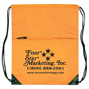Select Drawstring Tote Bags w/Zipper Pocket