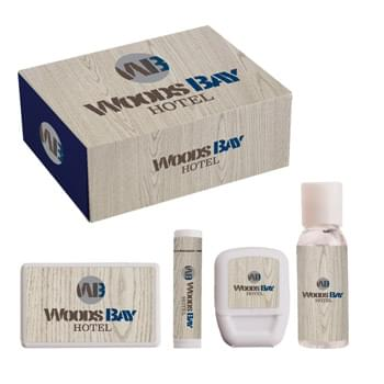 Travel Kit - The Travel Kit includes a 1 oz. hand sanitizer, Premium Lip Moisturizer, Dental Floss, and a plastic mint card to supply you with all the necessities for a safe and successful trip.