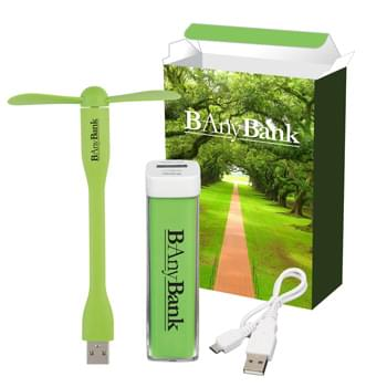 UL Listed Charge-It-Up Power Bank & Mini USB Fan Combo - Includes 1-Color/1-Location Imprint On Power Bank And Mini USB Fan And 4CP On Gift Box.  | Includes #2650UL UL Listed Charge-It-Up Power Bank (UL File #MH60879, Model #2650) And #84 Mini USB Two Blade Flexible Fan | For Full Information And Applicable Extra Charges For The Item(s) Contained In This Set, Please Visit The Individual Product Pages Highlighted Below
