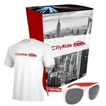 Delta® T-Shirt And Sunglasses Combo Set With Custom Box - Includes #11730 Delta® Pro Weight™ Unisex Short Sleeve Tee (Size S-XL), And #4000 Rubberized Sunglasses | Includes 1-Color/1-Location Imprint On T-Shirt And Sunglasses And 4CP On Gift Box.