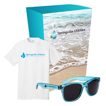 Port & Company® T-Shirt And Sunglasses Combo Set With Custom Box - Includes #PC54 Port & Company® - Cotton T-Shirt (Size S-XL), And #6223 Malibu Sunglasses (Colors Only) | Includes 1-Color/1-Location Imprint On T-Shirt And Sunglasses And 4CP On Gift Box.