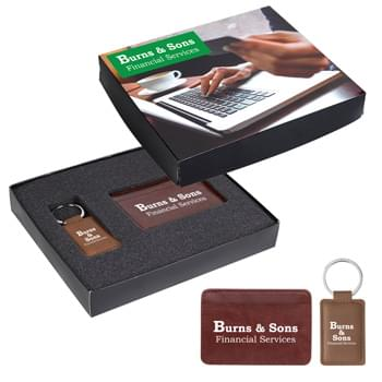 RFID Card Holder And Leatherette Key Tag Gift Set - Includes #1625 RFID Data Blocker Card Holder and #4730 Leatherette Executive Key Tag   | Pricing Includes 1-Color/1-Location Imprint On Each Item And 4CP On Gift Box