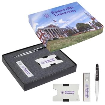 RFID Card Holder, Power Bank And Pen Gift Set - Includes #1638 RFID Expandable Card Holder, #2685 UL Listed 1500 mAh On-The-Go Portable Charger and #929 Stellar Stylus Pen | Pricing Includes 1-Color/1-Location Imprint On Each Item And 4CP On Gift Box