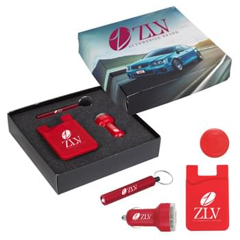 Auto Charging Gift Set - Includes #229 Silicone Magnetic Auto Air Vent Phone Wallet, #2532 Mini Cylinder LED Flashlight Key Tag and #2602 Dual USB Car Charger | Pricing Includes 1-Color/1-Location Imprint On Each Item And 4CP On Gift Box