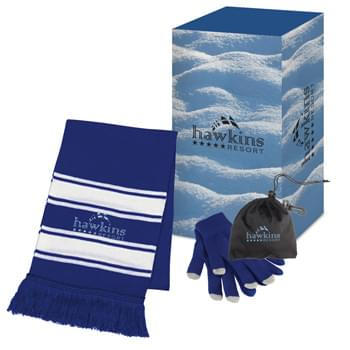Winter Combo Set With Custom Box - Includes 1-Color/1-Location Imprint On #2950 Glove Pouch, 5K Stitches/1-Location Embroidery On #1015 Scarf And 4CP On Gift Box. | For Full Information And Applicable Extra Charges For The Item(s) Contained In This Set, Please Visit The Individual Product Pages Highlighted Below