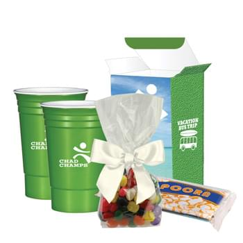 Movie Night Combo Set With Custom Box - Includes 1-Color/1-Location Imprint On Each Cup (Both Must Have Same Art) And 4CP On Gift Box. Jelly Beans And Popcorn Not Imprinted. | Includes 2 Pieces Of #5950 The CupTM, Packet Of Microwave Popcorn And Gift Jelly Bean Package | For Full Information And Applicable Extra Charges For The Item(s) Contained In This Set, Please Visit The Individual Product Pages Highlighted Below