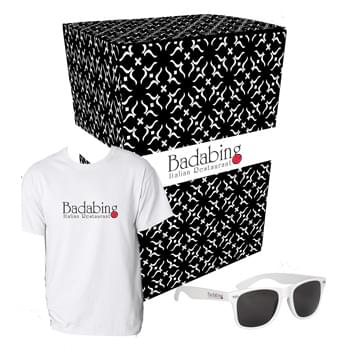 Gildan® T-Shirt And Sunglasses Combo Set With Custom Box - Includes #5000 Gildan Adult Heavy Cotton™ White T-Shirt (Size S-XL), And #6223 Malibu Sunglasses (Colors Only) | Includes 1-Color/1-Location Imprint On T-Shirt And Sunglasses And 4CP On Gift Box.