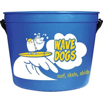 64-oz. Sand Pail - 64-ounce sand pail is made with premium materials. Excellent for packing with goodies.  Includes handle.  Made in USA. Optional shovel & decorated lid available. Offset decoration also available.  Contact factory or visit website for further details.