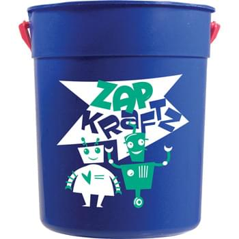 87-oz. Sand Pail - 87-ounce sand pail is made with premium materials. Excellent for packing with goodies.  Includes handle.  Made in USA. Optional shovel & decorated lid available.  Offset decoration also available.  Contact factory or visit website for further details.