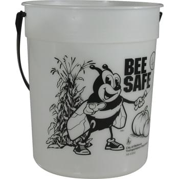 87-oz. Glow-in-the-Dark Pail - 87-ounce Glow-In-The-Dark bucket is excellent for packing with fun goodies.  For best glow effect, charge under direct light.  Includes handle. Made in USA.  Optional shovel & decorated lid available. Offset decoration also available.  Contact factory or visit website for further details.