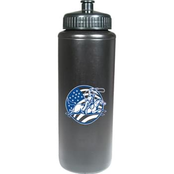 32-oz. Sports Bottle - 32-ounce sports bottle comes in an array of fun colors and your choice of lid: push-pull, super sipper or straw with tethered-tip.  Must specify bottle color as well as lid type & color.  Lid and bottle colors may vary/may not match.  Contrasting colors recommended. Made in USA. BPA-Free.