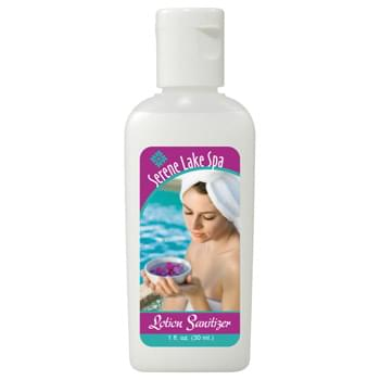 1-oz. Non-Alcohol Lotion Sanitizer - HumphreyLine item will keep your hands clean with this non-alcohol germ killing formula. Convenient, travel-sized 1-ounce lotion sanitizer features a scratch-resistant, waterproof Tuf Gloss label that can be customized with a four-color process imprint. Choose from a Clear or White label. Non-flammable and non-toxic. Available for shipment within United States (including Alaska, Hawaii & Puerto Rico). Not available for export. See General Information page for additional air shipment charges. Made in USA. FO