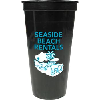 24-oz. Stadium Cup - 24-ounce stadium cup comes in a wide variety of colors.  Made in USA.  BPA-Free. Offset decoration also available.  Contact factory or visit website for further details.