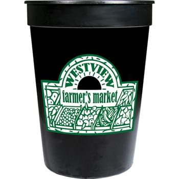 12-oz. Stadium Cup - 12-ounce stadium cup comes in a wide variety of colors. Made in USA. BPA-Free.  Offset decoration also available.  Contact factory or visit website for further details.