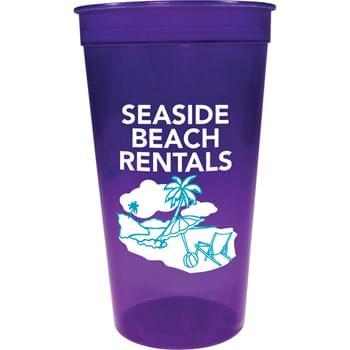 32-oz. Jewel Stadium Cup - 32-ounce translucent stadium cup comes in a wide variety of colors. Made in USA. BPA-Free.