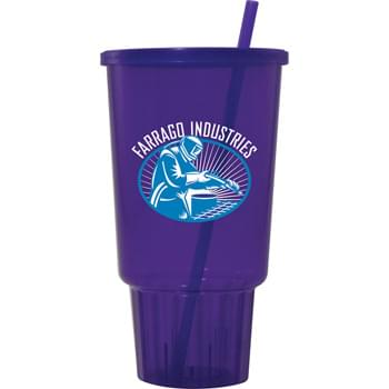 32-oz. Jewel Tumbler CarCup - Our 32-ounce Jewel CarCup Tumblers are made from durable plastic and have a tapered bottom to fit snugly in a cars cup holder. Tumblers include matching straws and lids and are available in 6 jewel-toned colors. Top rack dishwasher safe. Made in the USA.'