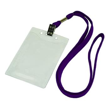 3/8 inch Flat Blank Lanyards with Badge Holder