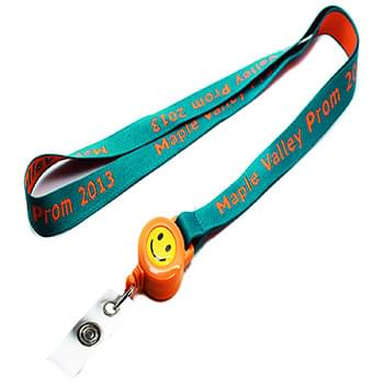 3/4 inch Woven Lanyards w/ Retractable Reel Combo