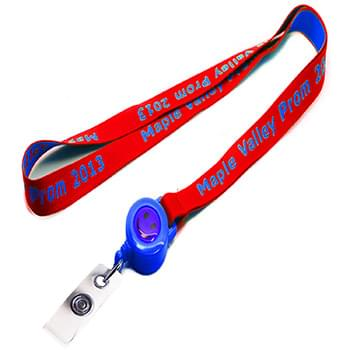5/8 inch Woven Lanyards w/ Retractable Reel Combo