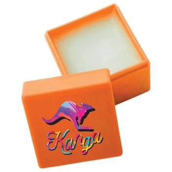 Non-SPF Lip Balm Block - Vanilla-flavored, neutral color lip balm in solid color block-shaped case. Remove top lid to expose lip balm. Safety sealed. Meets FDA requirements. Available for shipment within United States (including Alaska, Hawaii & Puerto Rico). Not available for ex
