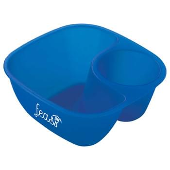 Two Compartment Snack Bowl - CLOSEOUT! Please call to confirm inventory available prior to placing your order!<br />This snack bowl is perfectly portioned to hold dip in one compartment and snacks in the other.  FDA compliant. BPA free. Microwave and dishwasher safe.