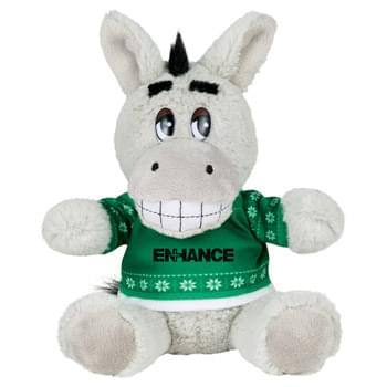 "Ugly Sweater 6"" Donkey - Soft, huggable plush animal includes an ugly Christmas Sweater. Perfect for the Christmas Holiday."