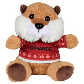 "Ugly Sweater 6"" Beaver - Soft, huggable plush animal includes an ugly Christmas Sweater. Perfect for the Christmas Holiday."