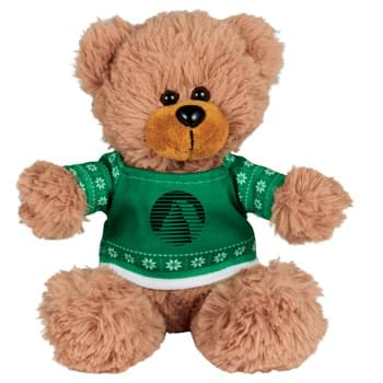"Ugly Sweater 6"" Sitting Bear - Soft, huggable plush animal includes an ugly Christmas Sweater. Perfect for the Christmas Holiday."