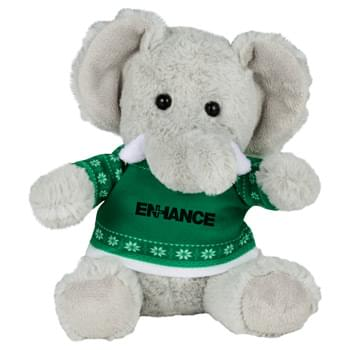 "Ugly Sweater 6"" Elephant - Soft, huggable plush animal includes an ugly Christmas Sweater. Perfect for the Christmas Holiday."