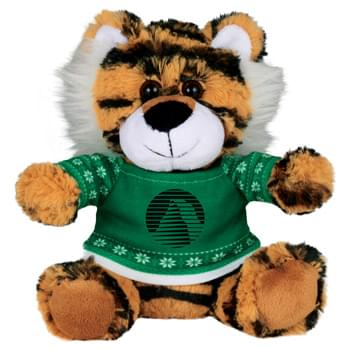 "Ugly Sweater 6"" Tiger - Soft, huggable plush animal includes an ugly Christmas Sweater. Perfect for the Christmas Holiday."