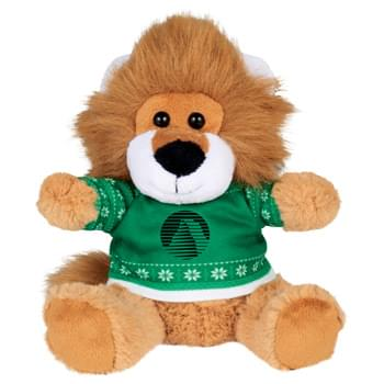 "Ugly Sweater 6"" Lion - Soft, huggable plush animal includes an ugly Christmas Sweater. Perfect for the Christmas Holiday."