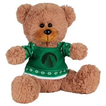 "Ugly Sweater 8"" Sitting Bear - Soft, huggable plush animal includes an ugly Christmas Sweater. Perfect for the Christmas Holiday."
